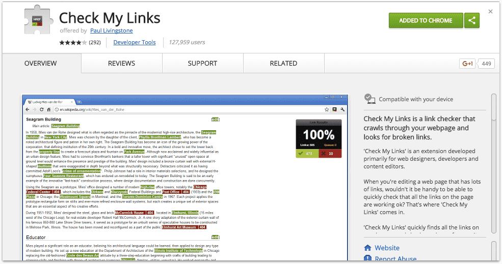 Check my links google chrome extension