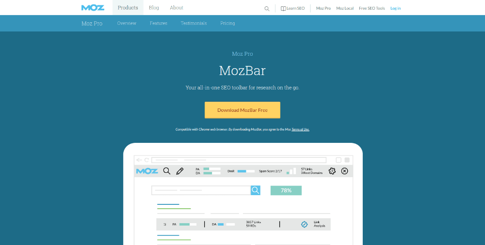 MozBar link checker tool