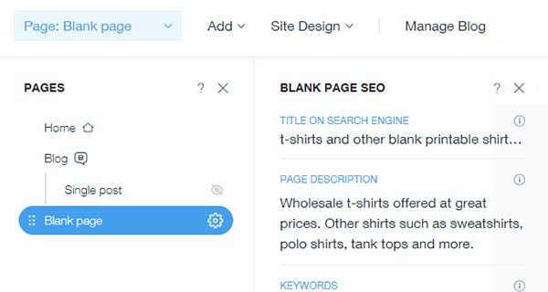 add title and meta description tags in Wix