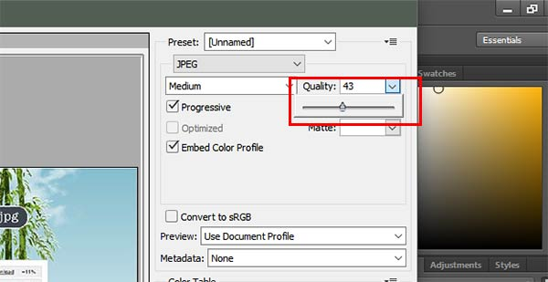 compress image to jpg in photoshop