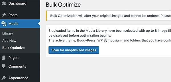 Bulk optimize images with EWWW plugin