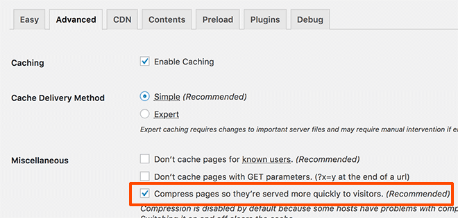 Enable gzip compression in WP Super Cache