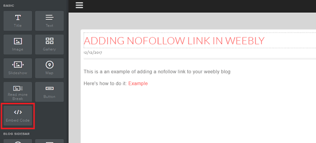 weebly embed code to add a nofollow link