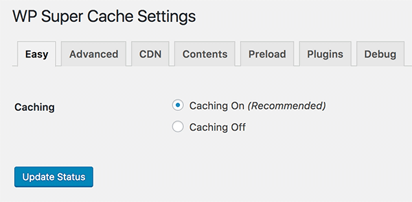 WP Super Cache turn on caching