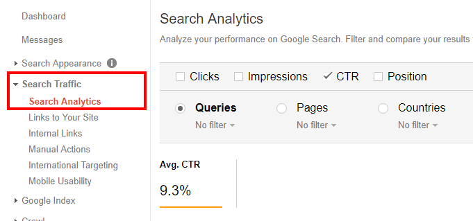 Click on Search Analytics in your Google Search Console account