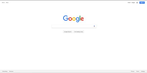 Screenshot of Google Homepage