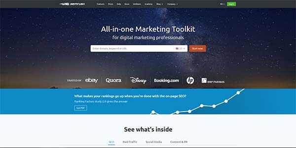 SEMrush competition research tool homepage screenshot