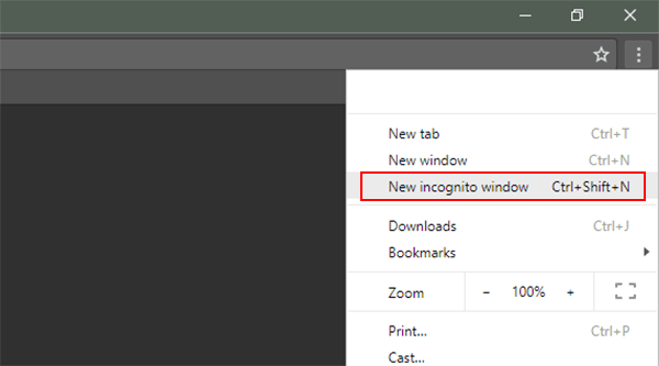 Open New Incognito Window in Google Chrome browser