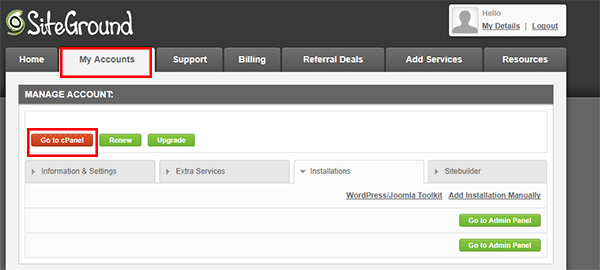 SiteGround User Area to go to Cpanel