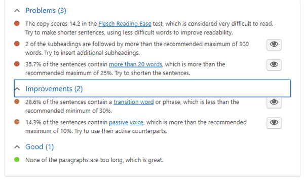 readability analysis a yoast SEO plugin feature