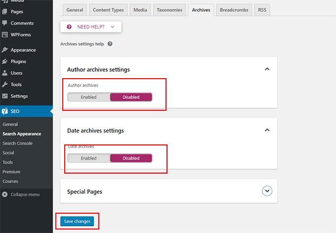 Archives settings in Yoast SEO plugin WordPress
