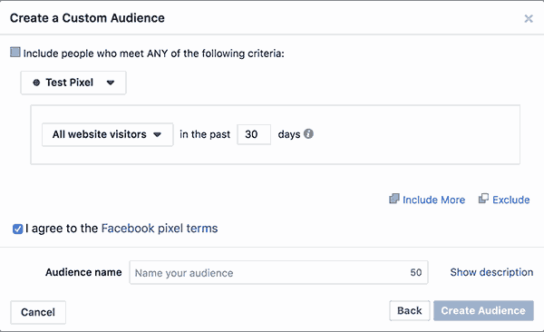 Create custom audience for retargeting
