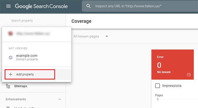 Add a property in Google Search Console
