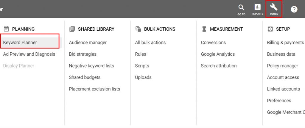 Keyword planner tool in Google Ads