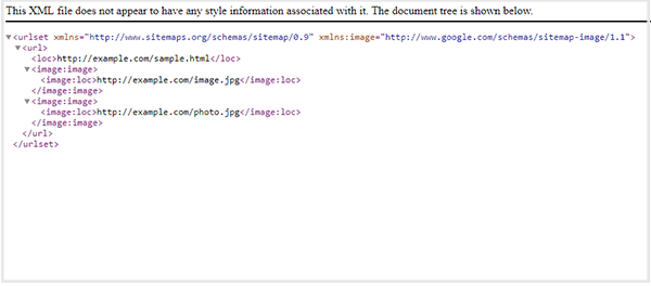 Example of an image sitemap