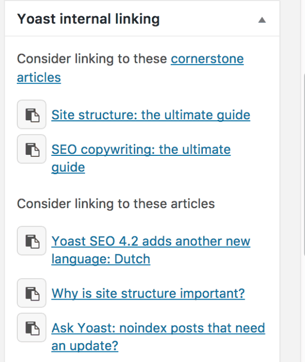 Internal link suggestions yoast seo premium feature