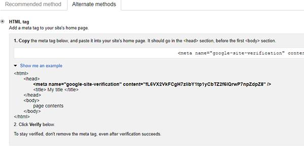 HTML meta tag verification method