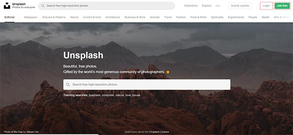 unsplash stock photo website