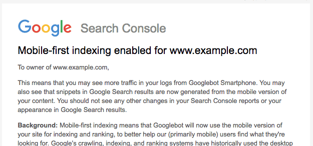 Enable mobile-first indexing through Google Search Console