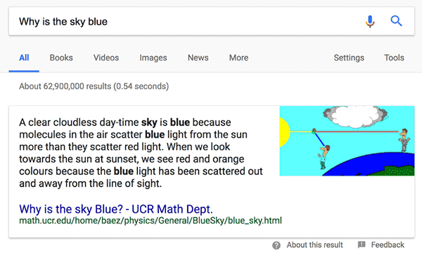 Example of a featured snippet in Google Search