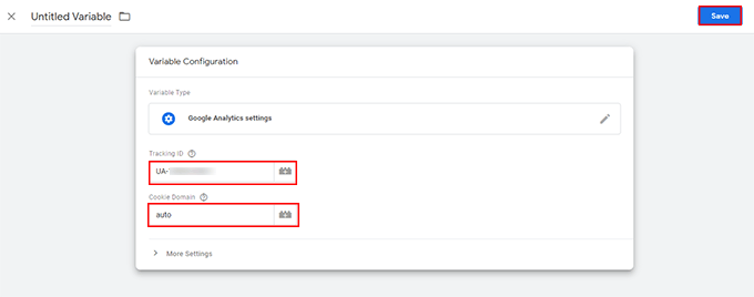 Add a variable as Google Analytics Tracking ID