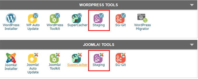 Click on either WordPress Staging or Joomla Staging