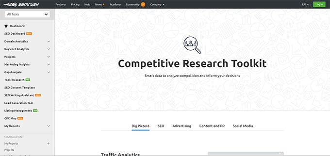 Semrush competitive research tool kit