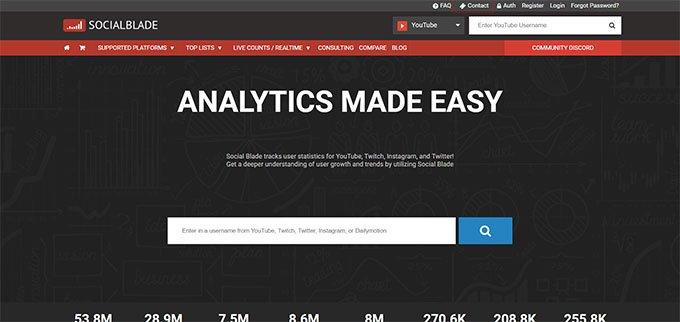 Social Blade social media analytics tool