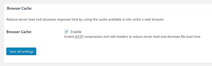Enable browser cache from general settings