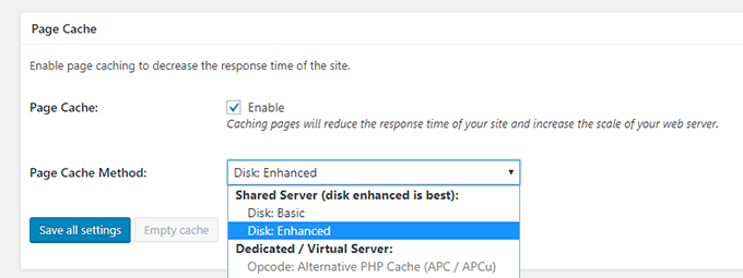Enable page cache in W3 Total Cache